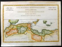 Bonne, Rigobert C1780 Hand Coloured Map of Libya, Tunisia, Morocco, Barbary, North Africa