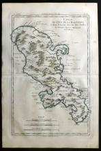 Bonne, Rigobert C1780 Hand Coloured Map of Martinqiue Island. Caribbean West Indies