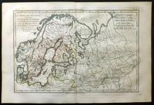Bonne, Rigobert C1780 Hand Coloured Map of Northern Europe. Scandinavia & Russia