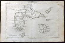 Bonne, Rigobert C1780 Map of Guadeloupe, Caribbean