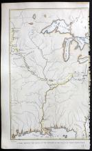 Catlin George 1857 Hand Coloured Map of Missouri & Louisiana. North American Indians