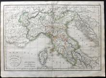 Delamarche, Felix 1832 Map of Italy