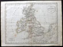 Delamarche, Felix 1832 Map of the British Isles