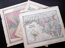 Baltimore, Maryland, Delaware C1860 Group of 3 Maps by Colton and Johnson