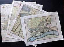 de Fer, Nicolas 1724 Group of 4 Hand Coloured Maps/Plans of Paris. Gardens etc