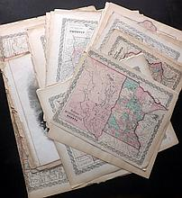 Colton, Joseph Hutchins & Johnson, Alvin Jewett C1855-C1870's Large Mixed lot of 50+ Maps. US & States