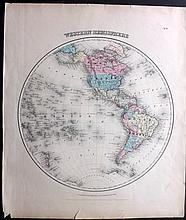 Colton, Joseph Hutchins C1856 Pair of Hand Coloured Hemisphere Maps