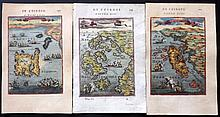 Mallet, Alain Manesson 1680's Group of 3 Greek Islands Maps. Greece