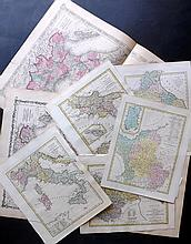 Italy including Sardinia 19th Cent. Lot of 7 Hand Coloured Maps by Wilkinson and Johnson