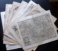 France 17th Century. Lot of 12 Large Maps by Jansson, Mercator, Hondius