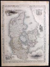 Tallis, John (Pub) 1852 Map of Denmark