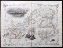 Tallis, John (Pub) 1852 Map of East Canada, and New Brunswick