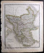 Turkey - Hall, Sidney 1828 Large Hand Coloured Map of Turkey in Europe