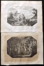 Canada 1802 Pair of Copper Plates. Death of Wolfe, Quebec & Gen. Burgoyne addressing the Indians