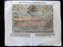 Munster, Sebastian C1580 Hand Coloured Double Page Woodcut of Bern, Switzerland