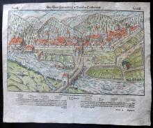 Munster, Sebastian C1580 Hand Coloured Double Page Woodcut of Hammelburg, Germany