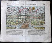 Munster, Sebastian C1580 Hand Coloured Double Page Woodcut of Selestat. France Germany