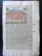 Munster, Sebastian C1580 Hand Coloured Woodcut of Ingelheim, Germany