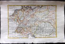 Bonne, Rigobert 1780 Hand Coloured Map of Germany, Bohemia, Hungary & Part of Poland