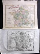 France C1740-1810 Pair of Maps by Moll & Wilkinson