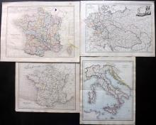 Maps 1812-C1860 Group of 4 Engraved Maps. France, Italy, Germany