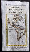 Pluche, Noel Antoine 1746 Hand Coloured Map. Colonies of the Europeans in America