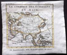 Pluche, Noel Antoine 1746 Hand Coloured Map. Commerce of Asia