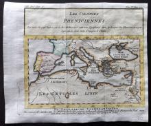 Pluche, Noel Antoine 1746 Hand Coloured Map. Phoenecian Colonies & Mediterranean