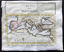 Pluche, Noel Antoine 1746 Hand Coloured Map. The Mediterranean