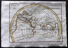 Pluche, Noel Antoine 1746 Hand Coloured Map. World according to Ptolemy