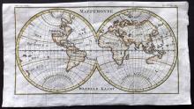 Pluche, Noel Antoine 1746 Hand Coloured Map. World Hemispheres