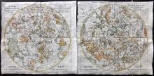 Pluche, Noel Antoine 1746 Pair of Hand Coloured Celestial Maps. North & South Constellations
