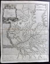 Rapin de Thoyras, Paul & Tindal, Nicholas 1743 Map of Els Prats de Rei, Spain