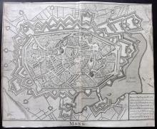 Rapin de Thoyras, Paul & Tindal, Nicholas 1743 Map of Mons, Belgium