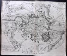 Rapin de Thoyras, Paul & Tindal, Nicholas 1743 Map of Tournay, Belgium