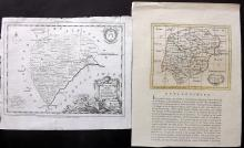 Rutland 1751-C1790 Pair of Copper Engraved Maps by Kitchin & Seller
