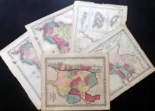 Americas C1856-C1875 Lot of 5 Maps by Colton & Johnson