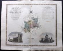 Greenwood, Charles & John 1834 Large Hand Coloured Map of Middlesex, London, UK