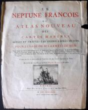 Jaillot, Hubert (Pub) 1693 Title Page to Le Neptune Francois. Engraved Illustration of Sail Ship