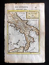 Mallet, Alain Manesson 1683 Hand Coloured Map of Naples, Italy