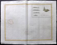 Perouse, Jean 1798 Map of Necker Island, Hawaii USA