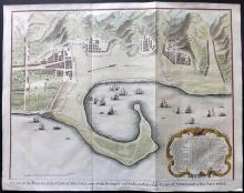 Rapin de Thoyras, Paul & Tindal, Nicholas 1745 Hand Coloured Map Plan of Messina, Sicily, Italy