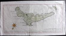 Anson, George 1748 Hand Coloured Map of Juan Fernandez Islands, Chile