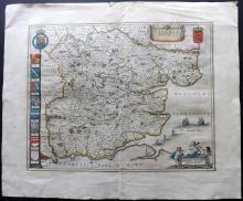 Blaeu, Jan & Willem C1650 Hand Coloured Map of Essex, UK