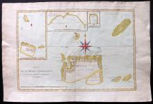 Bonne, Rigobert 1788 Hand Coloured Map of the Charlotte Islands. Pacific