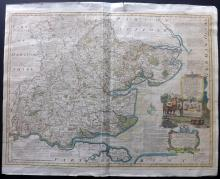 Bowen, Emanuel 1760 Large Hand Coloured Map of Essex, UK