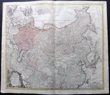 Homann Heirs 1739 Hand Coloured Map of the Russian Empire. Asia