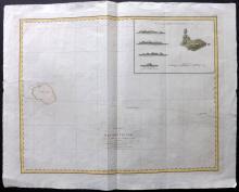 Perouse, Jean 1798 Map of Necker Island, Hawaii USA