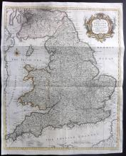 Rapin, de Thoyras & Tindal, Nicholas 1745 Hand Coloured Map of England and Wales