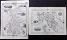 Tallis, John (Pub) 1851-52 Pair of Maps of Germany & Northern Italy
